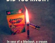 Tip of the Day: In an Emergency Use a Crayon as a Candle?