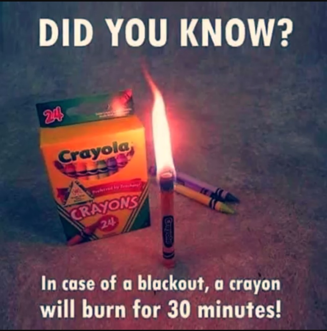 A Crayon can be used as a candle in an emergency.