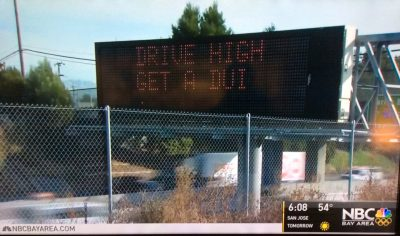 Drive High DUI street sign