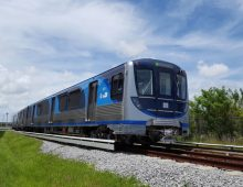 Miami-Dade County gets its first new Metrorail train in over 30 years for it's 25-mile Metrorail system.