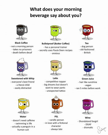 Morning beverage says a lot about you.