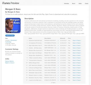 Podcasts Episodes on Apple Connect by Morgan Rees