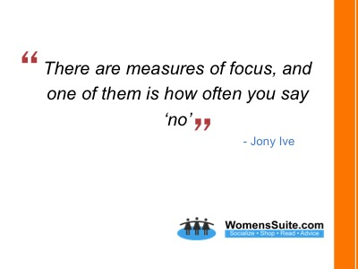 There are measures of focus, and one of them is how often you say 'no'