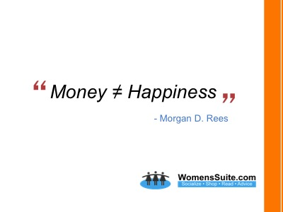 Money ≠ Happiness: -Morgan Rees