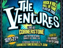The Ventures Sept 27. Berkeley, CA & Sept 29. Santa Cruz, CA