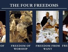 The Four Freedoms: oil paintings by artist Norman Rockwell.