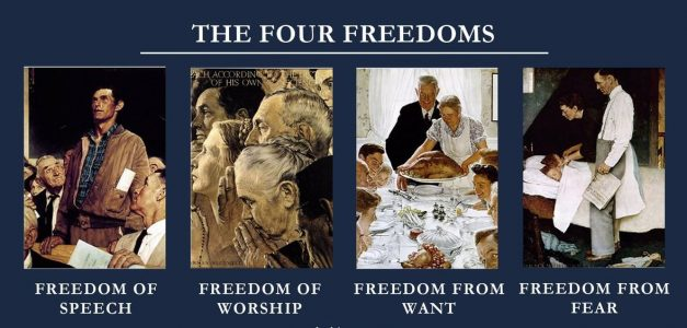 The Four Freedoms: oil paintings by artist Norman Rockwell