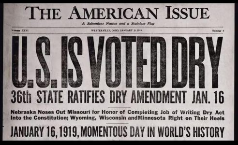100th Anniversary of Prohibition Starting in the United States