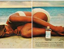 Tanning with baby oil in the days before we knew much.